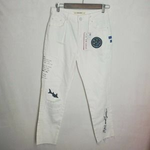 Zara Basic Limited Edition Maui And Sons Patches Size 2 Distressed White Jeans